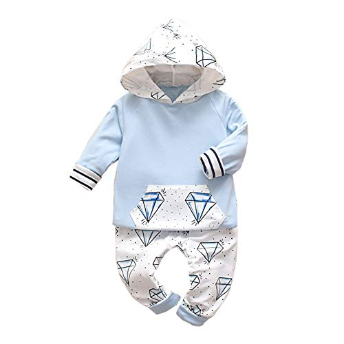 Timall Infant Baby Long Sleeve Stitching Diamond Print Hoodie+Trousers 2Pcs Spring Autumn Outfits 3-18M Blue