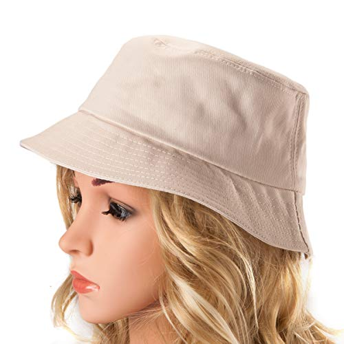 Scala Canvas Hat - Fashionable Bucket Hat Unisex Summer Cotton Sun Hat Unique Pattern Canvas Hat (Beige)