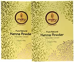 Matru Ayurveda 100% Pure, Natural and Chemical free bestseller Hair and Beard Color/Dye, Mehndi/Henna Leaves Powder Hair conditioner ; Ayurvedic/Herbal Hair Color, Covers Gray Hair (Twin)