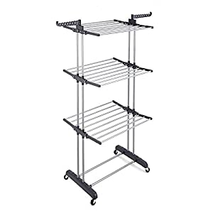 RichStar 3-Tier Upgraded Clothes Drying Rack Rolling Laundry Rack with Heavy Duty Wheels, 24 Stainless Steel Hanging Rods, Perfect for Your Laundry Room and Outdoor Laundry