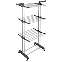 RichStar 3-Tier Upgraded Collapsible Clothes Drying Rack Rolling Laundry Rack with Heavy Duty Wheels, 24 Stainless Steel Hanging Rods, Perfect for Your Laundry Room and Outdoor Laundry