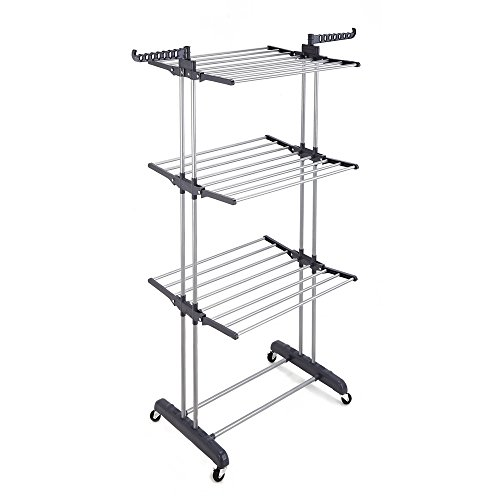 RichStar 3-Tier Foldable Rolling Clothes Drying Rack with Commercial Grade Wheels Stainless Steel Hanging Rods Perfect for Your Laundry Room