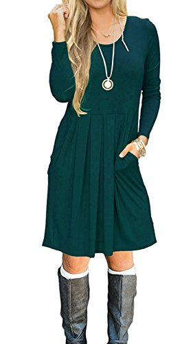 LILBETTER Women's Long Sleeve Pleated Loose Swing Casual Dress with Pockets Knee Length (XS, 01 Long Sleeve Drak Green)