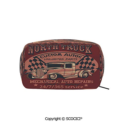 Travel Cosmetic Bag Portable Makeup Pouch North Truck Mechanical Auto Repairs Custom Autos Vintage Advertising Decorative makeup clutch for Girls Ladies Women