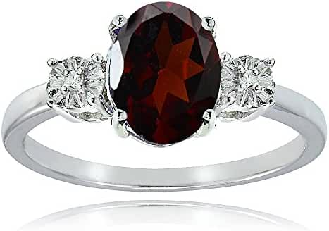 Sterling Silver African Garnet and Oval Ring