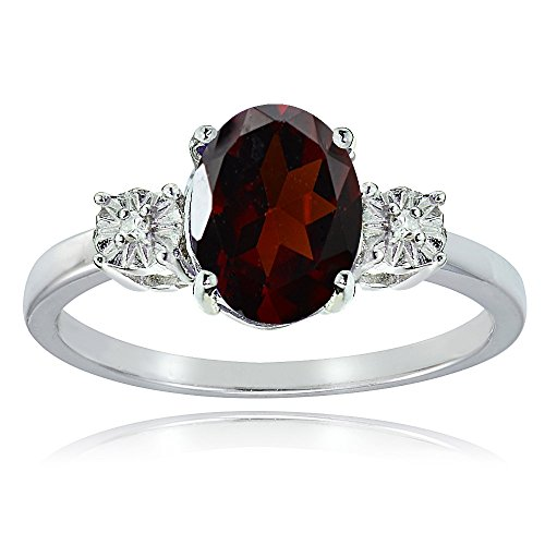Sterling Silver African Garnet and Oval Ring , Size 8