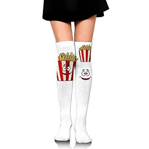 ZHONGJIAN Unisex Knee High Long Socks French Fries Cartoon Character In Striped Takeaway Box With Funny Face Fast Food Sport Wrist Socks Length 65cm (14 French Red Rubber)