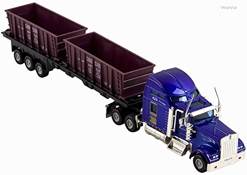 WolVol Commercial Trailer Truck Toy Carrying Dumpsters, Die-Cast Metal Front