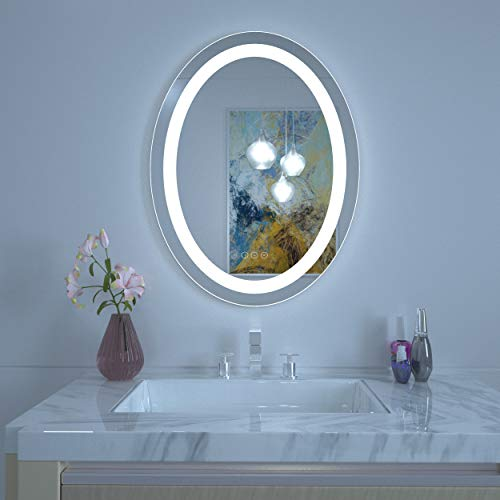 HAUSCHEN Oval 30x23 LED Lighted Bathroom Wall Mounted Mirror with CRI 90 -