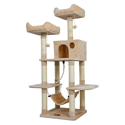 Meerveil Kratzbaum XL, Großer Kletterbaum mit Kratzsisal, Stabiler Kratzbaum Katzenbaum, Säulen mit Natürlicher Sisal Umwickelt