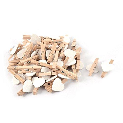Mini Holz Wäscheklammern / Kleine Holzklammern / Dekoklammern in verschiedenen Farben (Herz weiss)