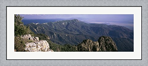 Sandia Mountains, Albuquerque, New Mexico, USA by Panoramic Images Framed Art Print Wall Picture, Flat Silver Frame, 44 x 20 inches