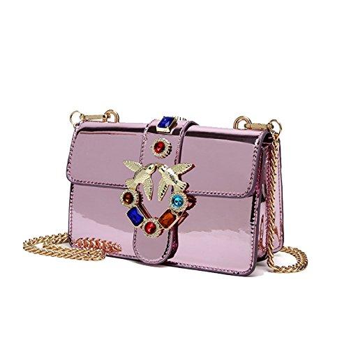 AJLBT Verano Moda Diamante Bolsa De Fiesta De Golondrina Tendencia Casual Cadena Bolso Mensajero De Hombro Bolsos De Mujer Purple