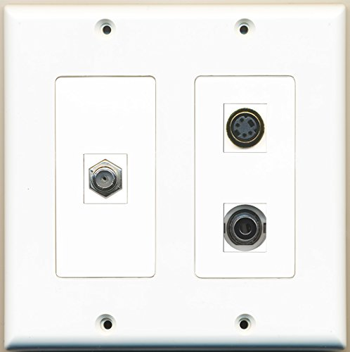 RiteAV - 1 Port Coax Cable TV- F-Type 1 Port S-Video 1 Port 3.5mm - 2 Gang Wall Plate (3.5 S-video F-type Mm)