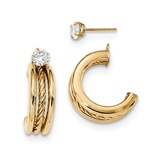 14k Gold Rope Hoop Earrings - 14k Yellow Gold Polished Triple Hoops With Rope Earring Jackets With CZ Studs