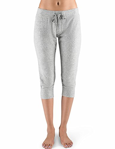 Rebel Canyon Young Women's Super Soft Brushed Jersey Cropped Jogger Sweatpant with Stitching Details X-Large Grey Heather (Cropped Womens Sweatpants)