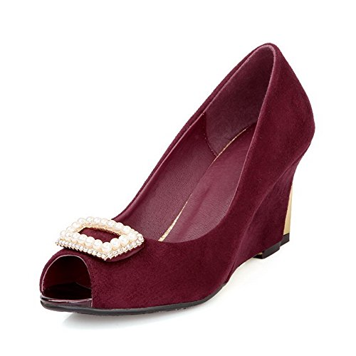VogueZone009 Women's Frosted Peep Toe High Heels Pull On Solid Sandals Claret McNgBFiV