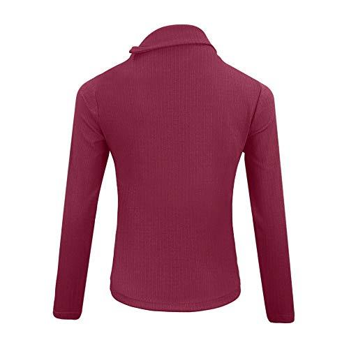 Avec Rabat Longues Manches La Et Élégant T Pour Vêtements K De Chandail Femmes En shirt À jeunes Vente Automne Rouge Bouton Mode qpTFTwa