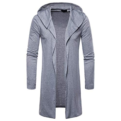 ec7470cf1 Clearance!! Men's Fashion Hooded Solid Trench Coat GoodLock Long Sleeve  Outwear Blouse Cardigan Jacket