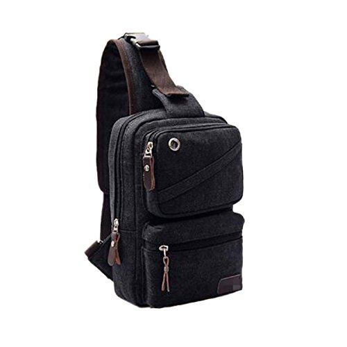 Men Canvas Travel Bag Shoulder Inclined Bag Bag Shoulder Sports Single Bag Black Bag Chest Outdoor U7xCq1wd1