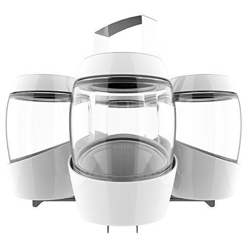 Mortier Pilon 100124 Home Canning Set, 4 Premium Quality Glass Fermentation Jars & 8 Matching Lids, Storing Rack & Funnel, Wax Pencil and Instruction Booklet, 5 quart, White