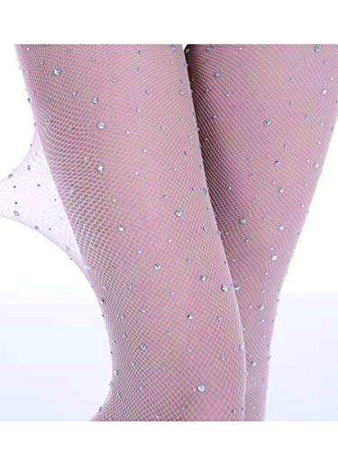 LILYKING crystal fishnet stockings, handmade bling stockings, Small Mesh Diamonds Fishnet Stocking Sexy Pantyhose for Women, Rhinestone Socks Sexy Elastic Tights(820-NUDE)