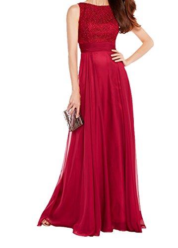 Rot 2018 A Langes Neu Charmant Ballkleider Dunkel Partykleider Spitze Abendkleider Promkleider Brautmutterkleider Linie Rot Damen Chiffon wH8x7Z
