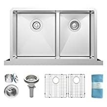 Self Trimming Low Divide 33 Inch Under mount Double Bowl Farmhouse Apron Stainless Steel Kitchen Sink