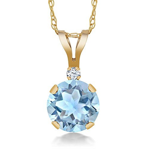 Gem Stone King 0.77 Ct Round Sky Blue Aquamarine White Created Sapphire 14K Yellow Gold Pendant ()