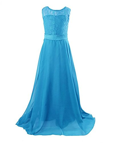 MMBeauty Lace Bodice Flower Girls Dresses Chiffon Long Junior Bridesmaid Dress (12-13Year, Water (Water Color Dress)