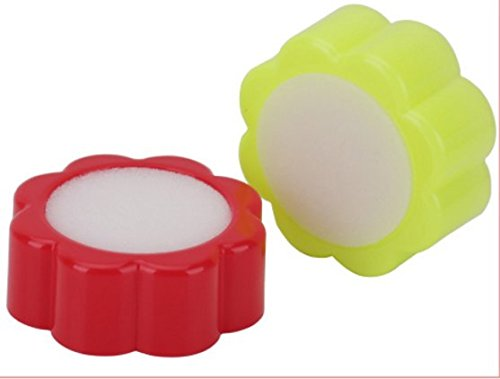 Home Mart Plastic Round Case Office Supply Sponge Finger Wet Tool 2pcs Red&Yellow by Home Mart (Image #3)