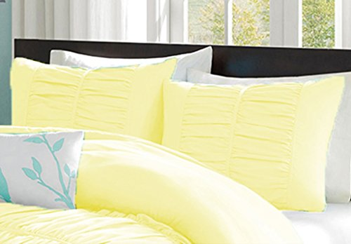 100% Egyptian Cotton 300 Thread Count Center Gathered Mimi Ruffled Pillow Shams Euro/Square/Continental/European Solid Light Yellow (Ruffled European Sham)