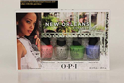 New Orleans 4pc MINI Polish Laquer Collections+FREE PROFESSIONAL TWEEZER