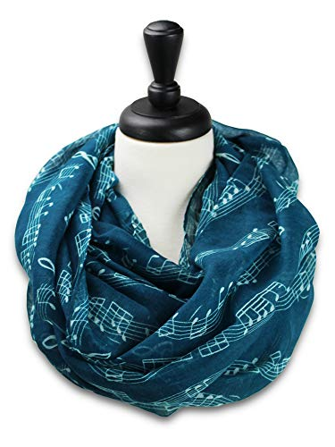 KnitPopShop Music Note Infinity Loop Scarf for Women in the Summer (Best Music Teachers)