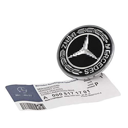 (Flat Hood Emblem for Mercedes Benz C E SL Class Ornament Logo Black 57MM)
