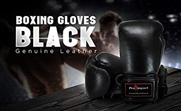 Pro Impact Boxing Gloves Black Durable Knuckle Protection w//Wrist Support for Boxing MMA Muay Thai or Fighting Sports Training//Sparring Use