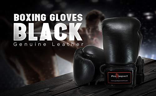 0,40 kg Guantes de boxeo de cuero aut/éntico de Pro Impact color negro