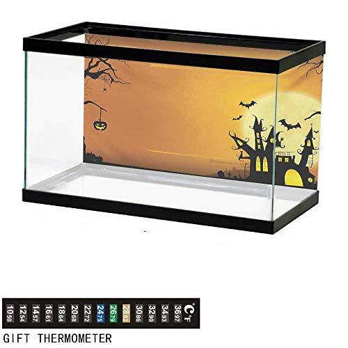 wwwhsl Aquarium Background,Halloween,Gothic Haunted House Bats Western Spooky Night Scene with Pumpkin Drawing Art,Orange Black Fish Tank Backdrop 72