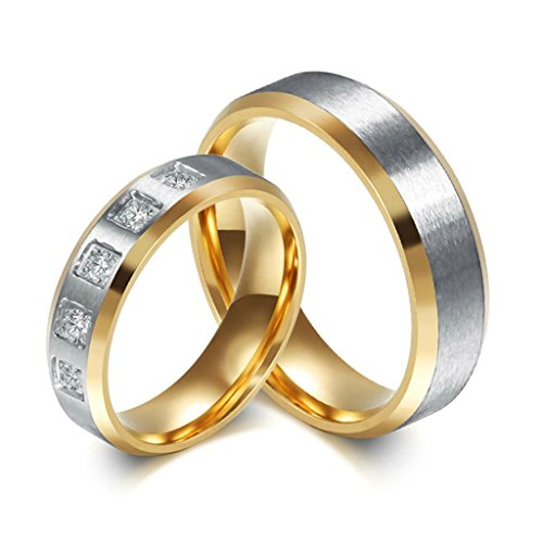 [Stainless Steel Couple's Wedding Rings Gold Silver CZ 2 Tones Women Size 6 - Adisaer Jewelry] (Female Ringleader Costume)