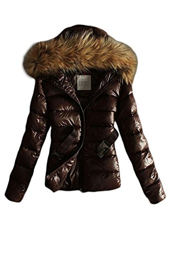 Plain Fur Mujer Acolchado Outerwear Puffer Up Hooded Coat Faux Invierno Coffee Casual Zip La fBqI1pq