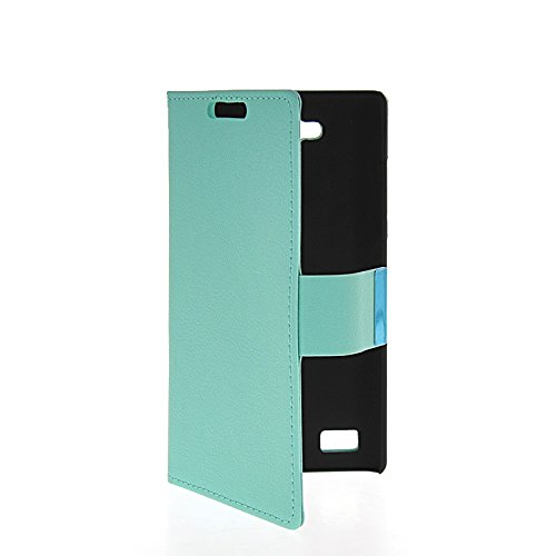 LINTAO Leather Wallet Flip Card Stand Side Pouch Back Case Cover For Huawei Honor 3C Azure