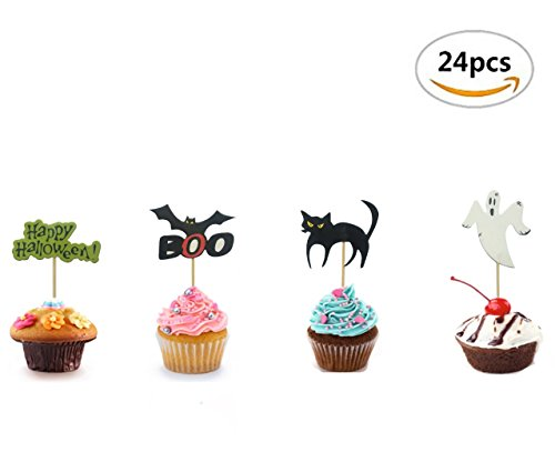 Maydolbone 24Pcs Halloween theme Party Cupcake Toppers,Food Picks Baby Shower Decor And Cupcake Party (Halloween Party Food Themes)