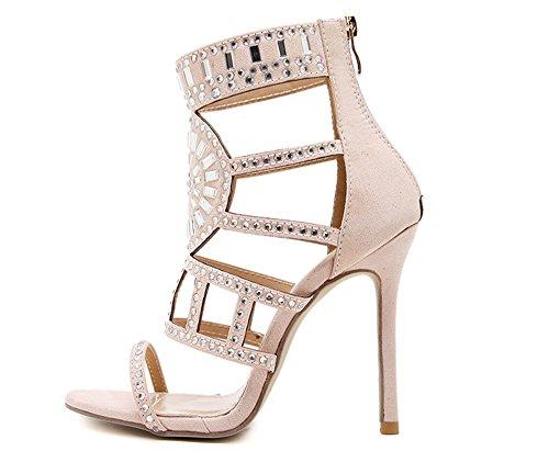 Fancyww Womens Open Toe Strappy Cuff Stiletto High Heel Rhinestone Embellished Single Soles Sandals(apricot37/6 B(M) US Womenwomens)