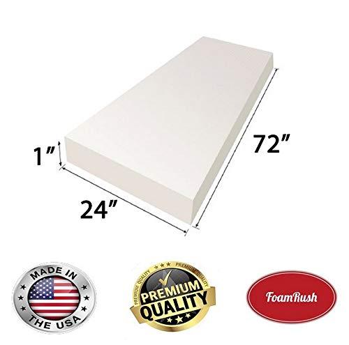 "FoamRush FM012472 High Density Upholstery Foam Cushion, Seat Replacement, Upholstery Sheet 1"" x 24"" x 72"""