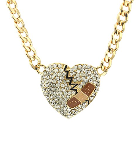 Crystal pave mended heart pendant cuban curb chain necklace Valentines day bandaid heart broken heart (Gold - Clear)