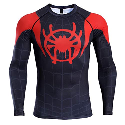 Raglan Sleeve Spiderman 3D Printed T Shirts Men Compression Shirts (X-Large, Red)