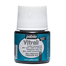 Pebeo Vitrail Stained Glass Effect Glass Paint 45-Milliliter Bottle, Turquoise