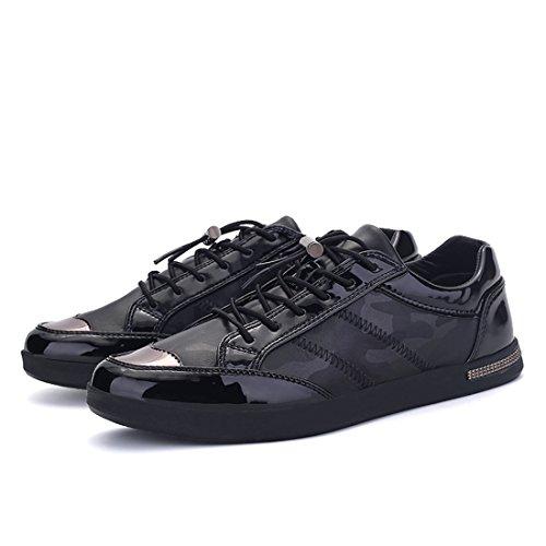 Xiafen Herenmode Casual Flats Coole Camouflage Sneakers Schoenen Zwart