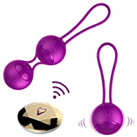 Kegel Balls for Tightening Doctor Recommended Silicone Wireless Remote Controlled Ben Wa Balls for Women Beginners & Advanced, Waterproof Rechargeable 2 in 1 Exercises Weights Kit for Bladder Control