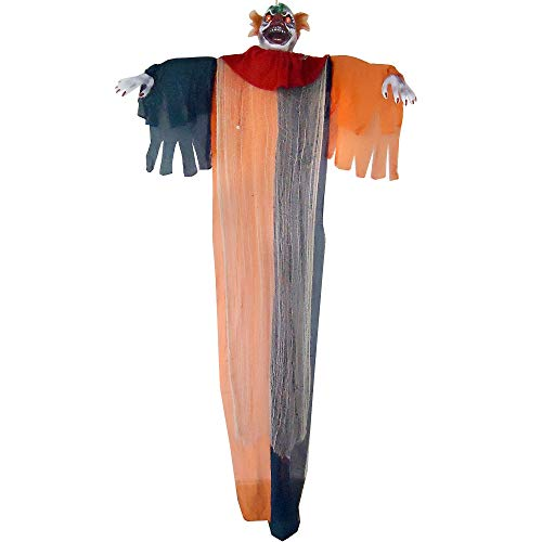 Light Up Talking Hanging Scary Clown, Halloween Props, 6' W x 9' H, by Pitini Enterprises -